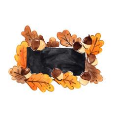 Oak leaves and acorn frame with blackboard vector
