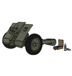 Old khaki field cannon vector