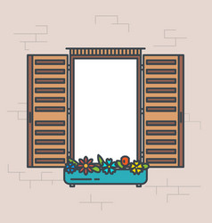 Open retro window vector