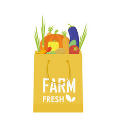 Paper package with fresh healthy produce organic vector