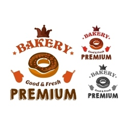 Pastry emblem with glazed doughnut and text vector