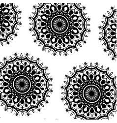 Pattern monochrome flowers mandala decorative vector
