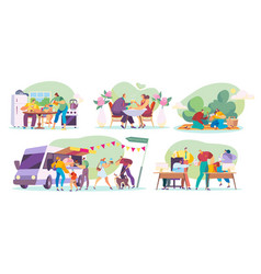 people eating at home outdoors in restaurant and vector image