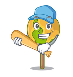Playing baseball candy apple character cartoon vector