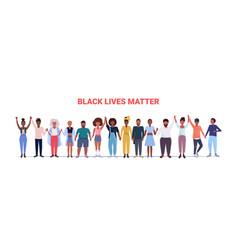 protesters holding hands black lives matter vector image