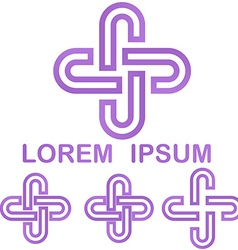 Purple cycle logo design template set vector