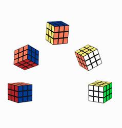 puzzle cube in flight vector image