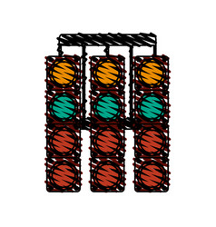 Racer traffic light doodle vector
