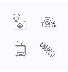 Retro camera TV remote and phone call icons vector