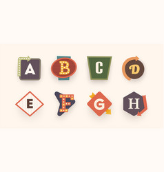 Retro font letters on vintage style retro signs vector