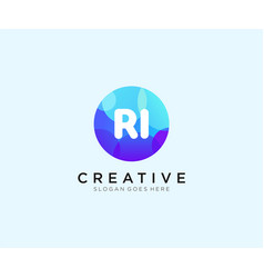 Ri initial logo with colorful circle template vector