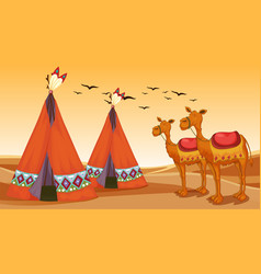 Scene with camels and teepees in desert vector