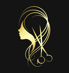 scissors and a girl of gold color vector image