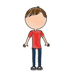 scribble body man cartoon vector image