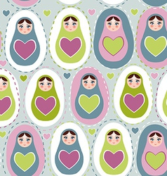 Seamless pattern Russian dolls on a blue green vector image