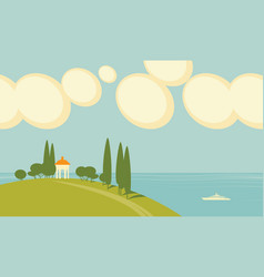 seascape with white gazebo on a hill vector image