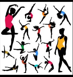 Set dance girl ballet silhouettes dancing women vector
