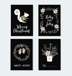 set of cute christmas greeting cards invitations vector image