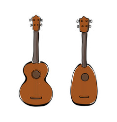 Set of hand drawn ukuleles vector