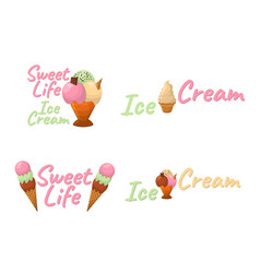 Set of ice cream cartoon icon summer sundae logo vector