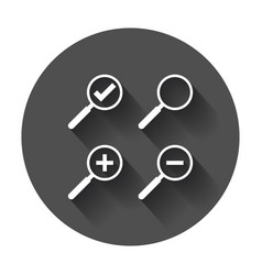 Set of loupe icon magnifier in flat style search vector