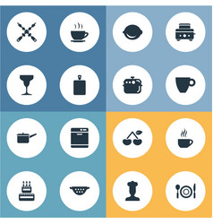 Set of simple gastronomy icons vector
