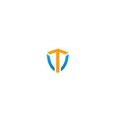 shield initial t company logo vector image