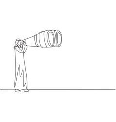 Single one line drawing happy arab tourist man vector