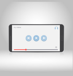 smartphone with video player on the screen vector image