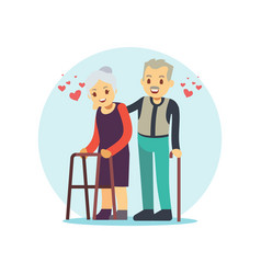 Smiling and happy old couple elderly family in vector