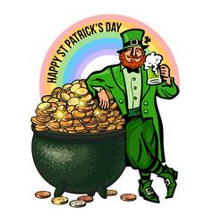 st patricks day poster cartoon leprechaun vector image
