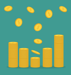 Stacks of gold coin icon flying falling down vector