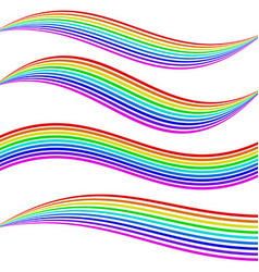 Striped rainbow waves vector