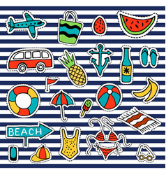 summer set isolated cute colorful patches in vector image