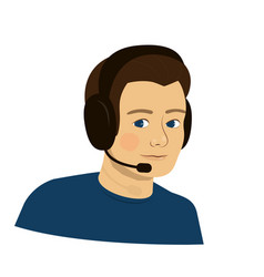 support boy with headphones - call center vector image