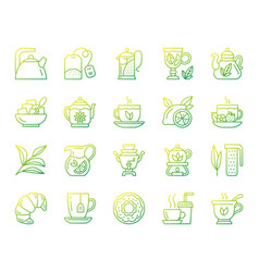 tea simple color line icons set vector image