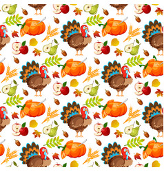thanksgiving seamless pattern background autumn vector image