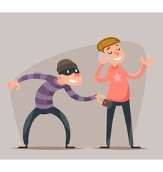 Thief Steals a Purse from Hapless Guy Character vector