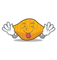 Tongue out conchiglie pasta mascot cartoon vector