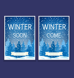 two winter festive posters with spruces vector image