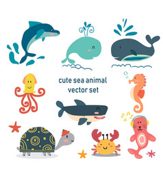 underwater life animal set vector image