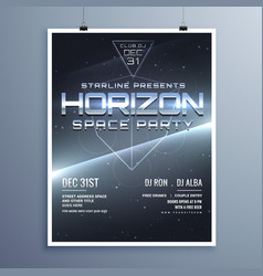 universe style space party music event flyer for vector image