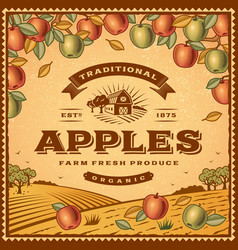Vintage apples label vector image
