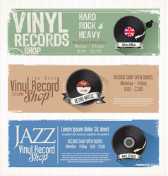 Vinyl record shop retro grunge banner 3 vector