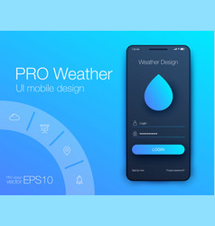 weather forecast app ux ui design stock vector image