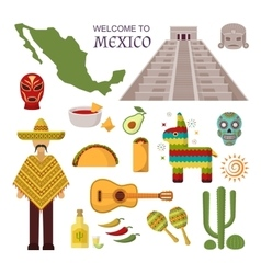 welcome to mexico america guitar set vector image