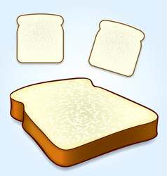 White bread slice icons top and isometric views vector