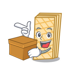 With box waffle character cartoon style vector