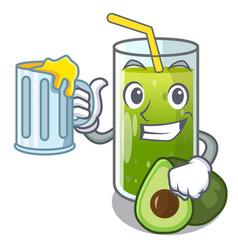 With juice avocado smoothies are isolated on vector