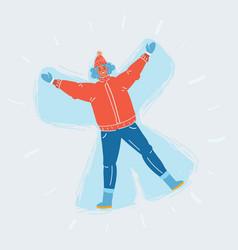 woman make snow angel vector image